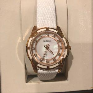 Bulova Stainless Steel Rose Gold Diamond acc watch